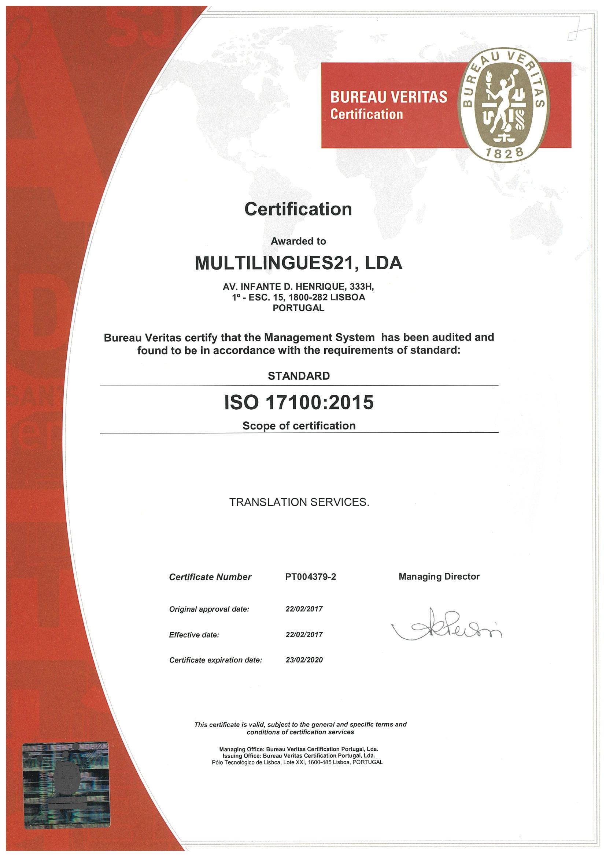 Certificação ISO 17100